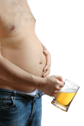 man with beer belly